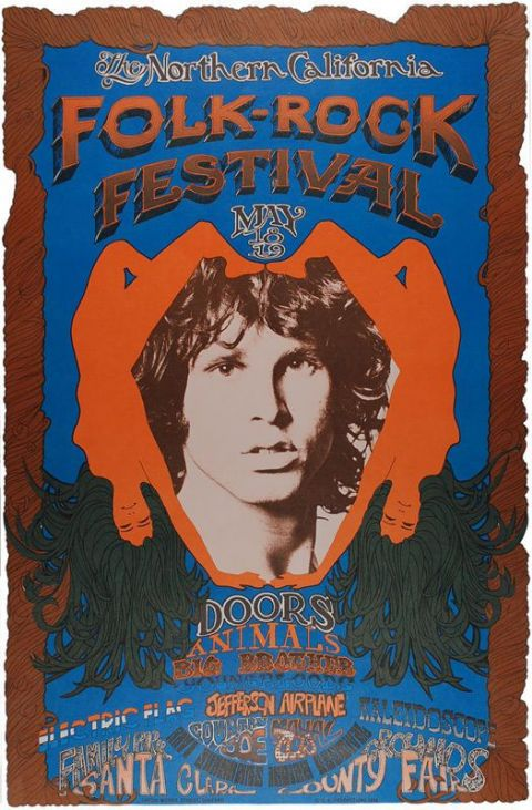The Doors California Folk Rock Festival Poster T-shirt. Mens Ladies & Kids Sizes